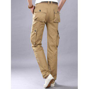 Casual Zip Fly Flap Pockets Cargo Pants - Kaki 32