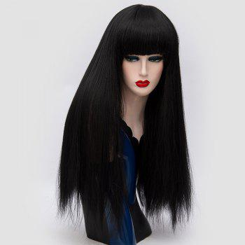 Long Neat Bang Fluffy Straight Lolita Cosplay Synthetic Wig - BLACK BLACK