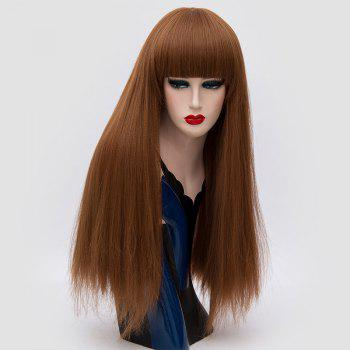 Long Neat Bang Fluffy Straight Lolita Cosplay Synthetic Wig - BROWN BROWN