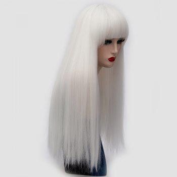Long Neat Bang Fluffy Straight Lolita Cosplay Synthetic Wig -  WHITE
