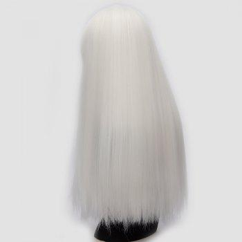 Perruque synthétique Lolita Cosplay Long Neat Bang Fluffy Straight - Blanc