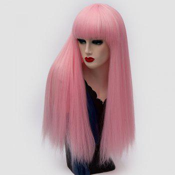 Long Neat Bang Fluffy Straight Lolita Cosplay Synthetic Wig - PINK