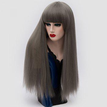 Perruque synthétique Lolita Cosplay Long Neat Bang Fluffy Straight - GRIS FONCE
