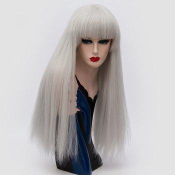 Long Neat Bang Fluffy Straight Lolita Cosplay Synthetic Wig - FROST FROST