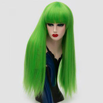 Long Neat Bang Fluffy Straight Lolita Cosplay Synthetic Wig - EMERALD EMERALD