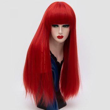 Long Neat Bang Fluffy Straight Lolita Cosplay Synthetic Wig - RED RED