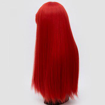 Long Neat Bang Fluffy Straight Lolita Cosplay Synthetic Wig - RED