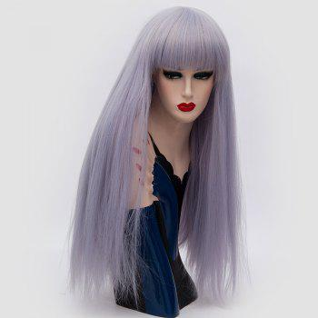 Long Neat Bang Fluffy Straight Lolita Cosplay Synthetic Wig - BLUE VIOLET BLUE VIOLET