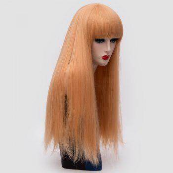 Long Neat Bang Fluffy Straight Lolita Cosplay Synthetic Wig -  GOLD/PINK