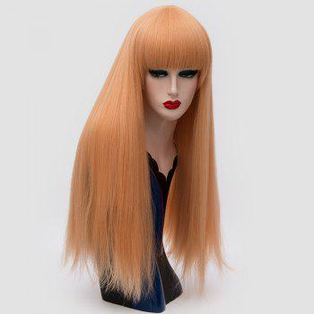 Long Neat Bang Fluffy Straight Lolita Cosplay Synthetic Wig - GOLD AND PINK GOLD/PINK