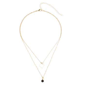 Round Geometric Pendant Layered Necklace - GOLDEN