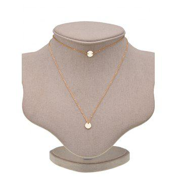 Round Disc Pendant Layered Necklace - GOLDEN