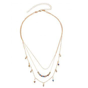 Statement Alloy Beaded Pendant Layered Necklace - GOLDEN GOLDEN