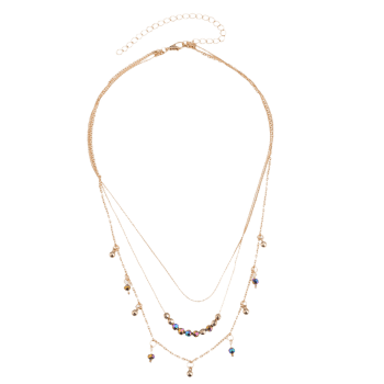 Statement Alloy Beaded Pendant Layered Necklace -  GOLDEN
