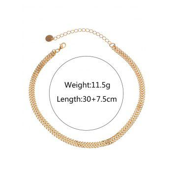 Alloy Braid Round Disc Chain Necklace - GOLDEN