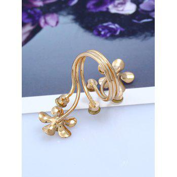 Rhinestone Alloy Floral Full Finger Ring - GOLDEN