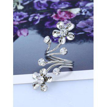 Rhinestone Alloy Floral Full Finger Ring - SILVER
