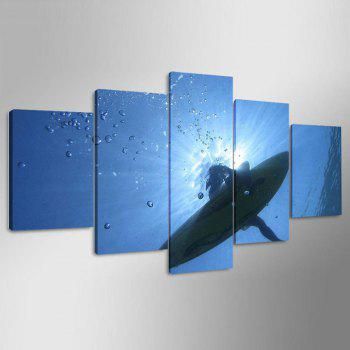Impression de baleine Split sans cadre Wall Art Canvas Paintings - Bleu 1PC:8*20,2PCS:8*12,2PCS:8*16 INCH( NO FRAME )