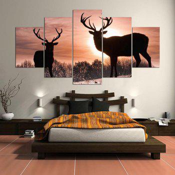Sunset Elks Patterned Wall Art Split Canvas Paintings