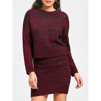 High Neck Sweater with Knitted Skirt - RED L