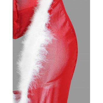 Mesh Hooded Christmas Costume with Feather - RED ONE SIZE