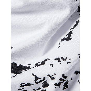 Cowl Neck Splatter Paint Pleat T-shirt - Blanc S