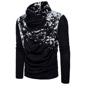 Cowl Neck Splatter Paint Pleat T-shirt - Noir M