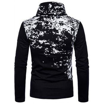 Cowl Neck Splatter Paint Pleat T-shirt - Noir S