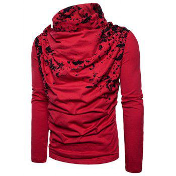 Cowl Neck Splatter Paint Pleat T-shirt - Rouge 2XL