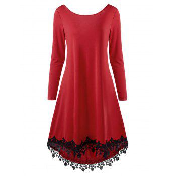 High Low Lace Trim Open Back Dress - RED RED