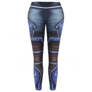 High Waisted Printed Skinny Leggings - COLORMIX ONE SIZE