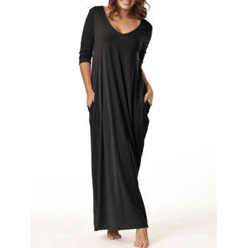 V Neck Floor Length Baggy Dress - BLACK BLACK