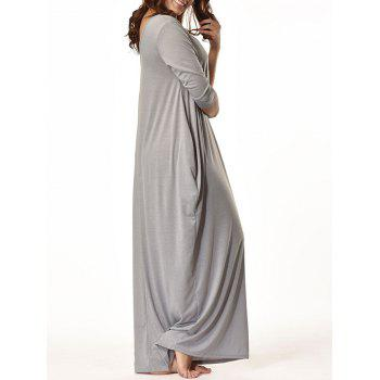 V Neck Floor Length Baggy Dress - GRAY 2XL