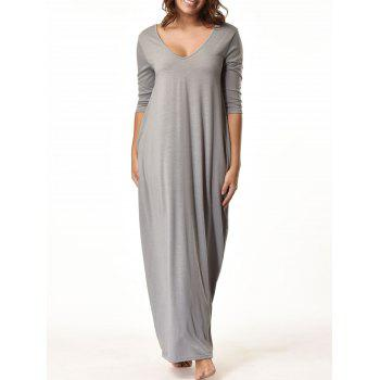 V Neck Floor Length Baggy Dress - GRAY GRAY