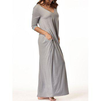 V Neck Floor Length Baggy Dress - GRAY L