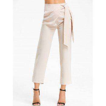 High Wasited Tie Up Pants - BEIGE S