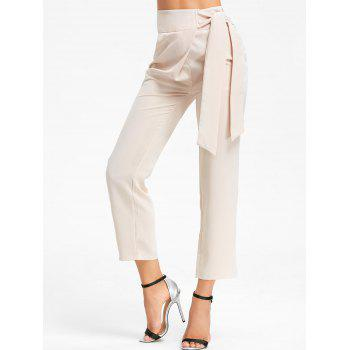 High Wasited Tie Up Pants - BEIGE M