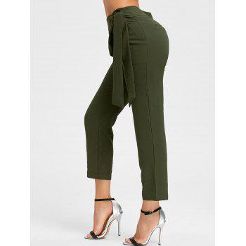 High Wasited Tie Up Pants - ARMY GREEN XL