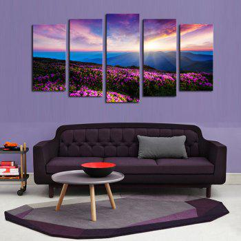 Colorful Sunrise Lavender Print Frameless Painting - COLORFUL 1PC:12*31,2PCS:12*16,2PCS:12*24 INCH( NO FRAME )