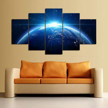 Wall Art Universal Earth Printed Canvas Paintings - BLUE 1PC:12*31,2PCS:12*16,2PCS:12*24 INCH( NO FRAME )