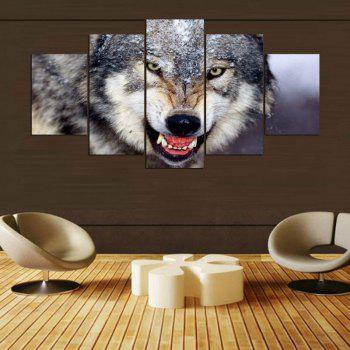Wall Art Wolf Pattern Unframed Canvas Paintings - GRAY 1PC:12*31,2PCS:12*16,2PCS:12*24 INCH( NO FRAME )