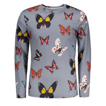 Colorful Butterflies Pattern Crew Neck T-shirt - GRAY GRAY
