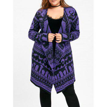 Halloween Skull Plus Size Drape Sweater Cardigan