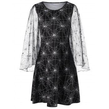 Halloween Lace Sleeve Spider Web Print Dress - BLACK BLACK