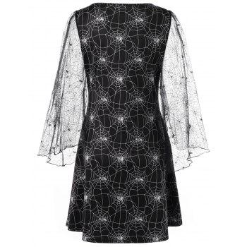 Halloween Lace Sleeve Spider Web Print Dress - BLACK 2XL