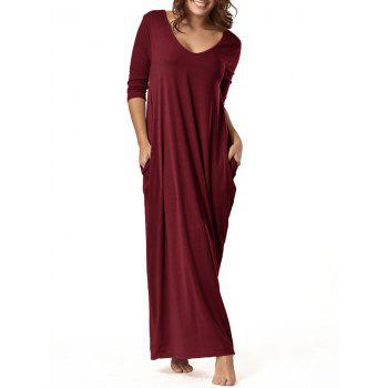 V Neck Floor Length Baggy Dress - WINE RED 2XL
