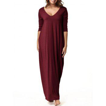 V Neck Floor Length Baggy Dress - WINE RED L