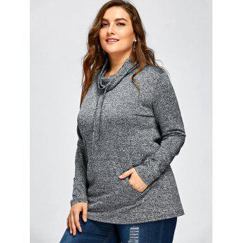 Plus Size Long Sleeve Drawstring Cowl Neck Top - SMOKY GRAY 2XL