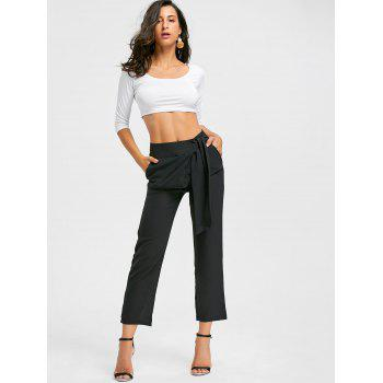 High Wasited Tie Up Pants - BLACK BLACK