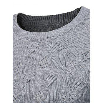 Crew Neck Raglan Sleeve Textured Jumper - GRAY XL